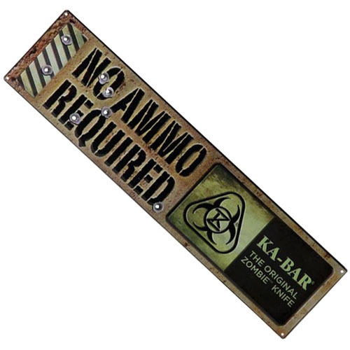 Ka-Bar Original Zombie No Ammo Required Sign