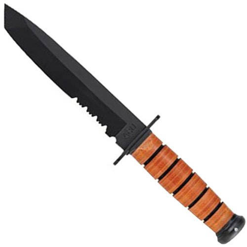 Ka-Bar 2-1265-9 Leather Partially Serrated Edge Tanto Fixed Blade Knife