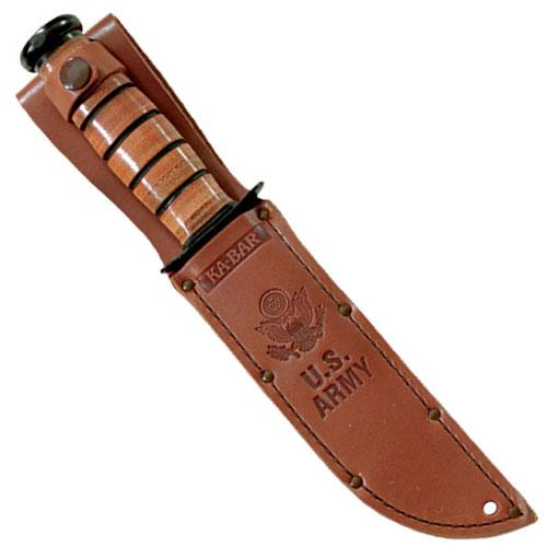 Ka-Bar 3-1220S-5 Army Logo Brown Leather Sheath Fixed Blade Knife
