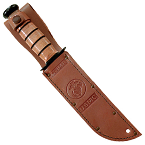 Ka-Bar 3-1250S-2 Usmc Logo Brown 5 1/4 Inch Leather Sheath Fixed Blade Knife