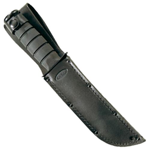 Ka-Bar 3-1256S-4 Black USA Logo Leather Sheath Fixed Blade Knife