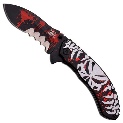 Dark Side Blades Grey Skull Black Folding Knife