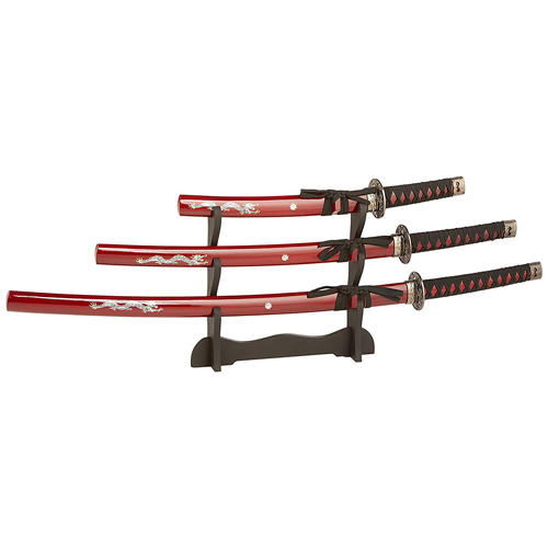 JS-697R 39.5 Inch Overall Samurai Sword Set w/ Display Stand