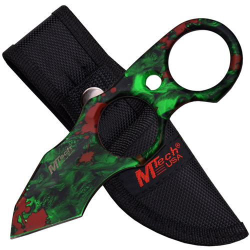 MTech USA 20-56GN Green Skull on Blade Fixed Knife