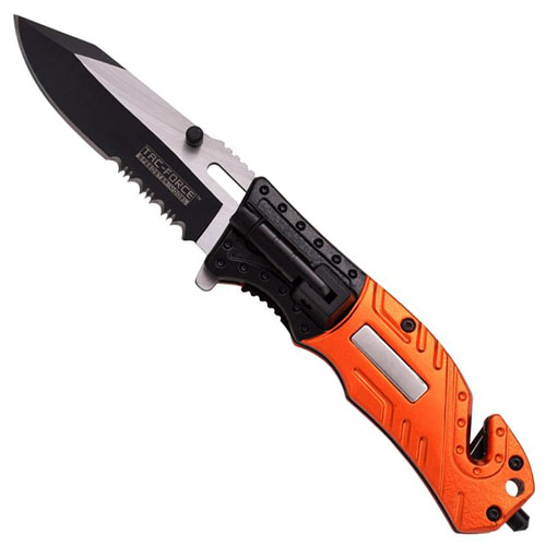 Tac-Force TF-835EM Spring Assisted Orange Handle Folding Knife