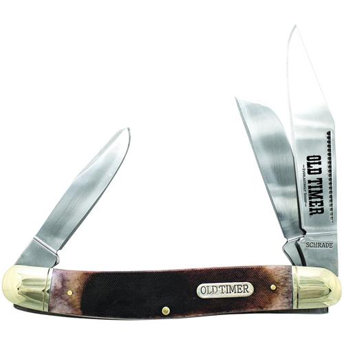 Old Timer 858OTB Genuine Bone Lumberjack Sawcut Handle Folding Knife