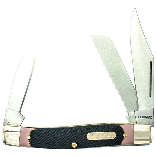 Schrade Old Timer Blazer Folder With Clip Serrated Sheepfoot And Spey Blades
