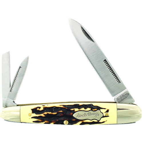 Schrade Uncle Henry Cigar Whittler 4 Inch Es 3 Blade Folder