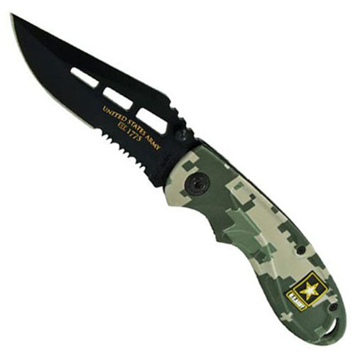 Schrade US Army Linerlock Black Clip Point 40 Percent Serrated Blade And MARPAT Camo Handle Knife