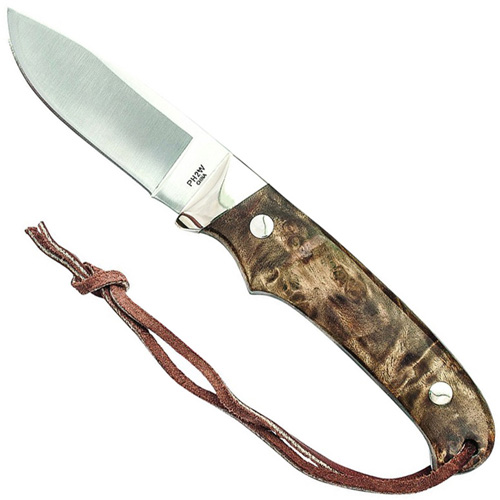 Schrade Iron Wood Handle Nickel Bolster Fixed Blade Knife