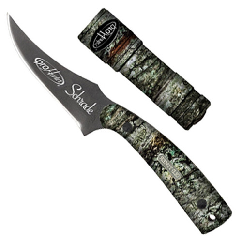 7 1/4 Inch Es Sharpfinger Camo Handle Blk Blade/Camo Flashlight W/ Nylon Sheath Clam Pack