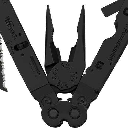 SOG Black Oxide Leather Sheath Powerassist EOD