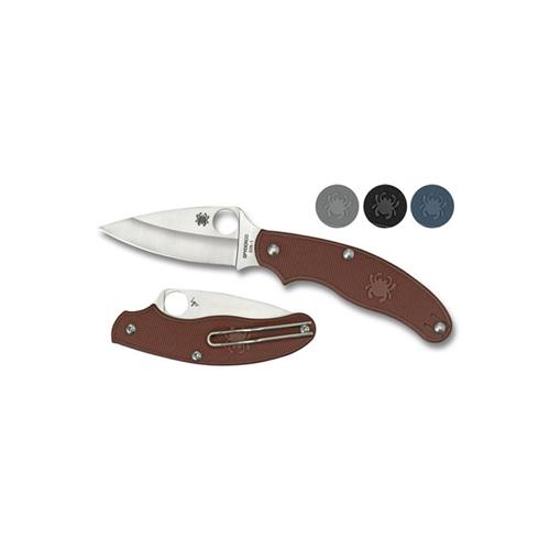Spyderco UK Penknife Maroon FRN Leaf Blade Combo Edge Folding Knife