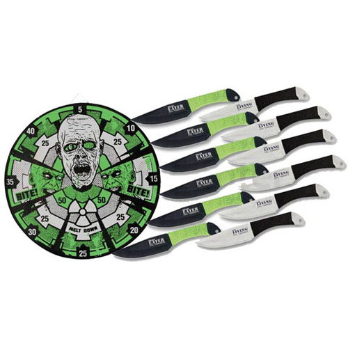 Zombie Getaway Neon Target And Throwing Knife Set