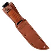 Ka-Bar Leather Handled Mark I Serrated Edge Fixed Blade Knife