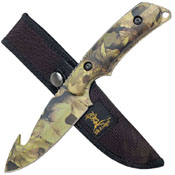 Elk Ridge 116 Camo Coated Gut Hook Blade Knife w/ Sheath