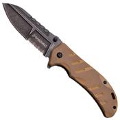 US Marines Half Serrated Stainless Steel Folding Blade Knife