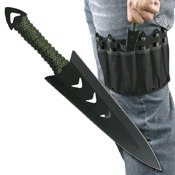 Perfect Point Green Cord Wrapped Handle 6 Piece Set Throwing Knife