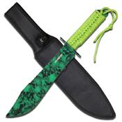 Z Hunter ZB-031 Green Skull Camo Coated Fixed Knife - 15 Inch