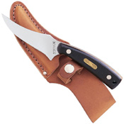 52OTCP Schrade Sharpfinger Fixed Blade Knife With Leather Sheath Clam Pack