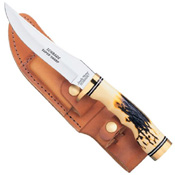 153UHCP Schrade Golden Spike Fixed Blade Knife With Leather Sheath Clam Pack 9 1/4 Inch
