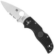 Spyderco Native 5 Satin Combo Black Folding Knife