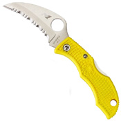 Ladybug 3 Salt Hawkbill Serrated Blade Folding Knife - Yellow