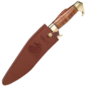USMC Stacked Leather Handle Kukri Knife with Leather Sheath